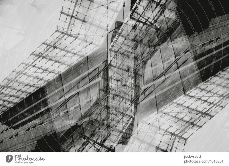 Abstract architecture Line Aspire Glas facade Modern architecture Building Structures and shapes Double exposure Reaction Design Silhouette Surrealism Complex