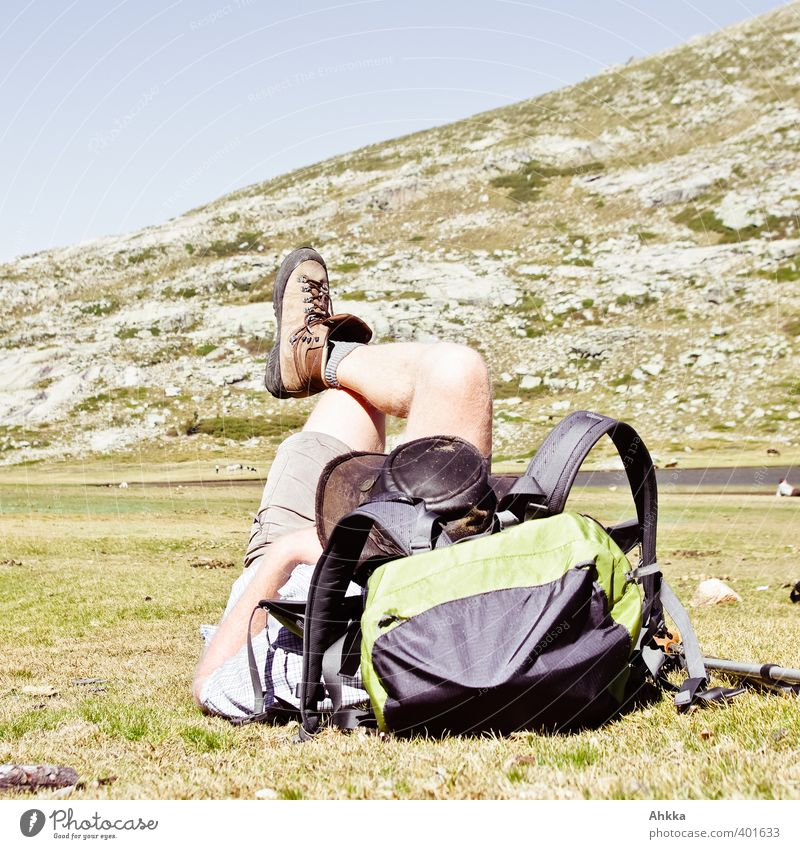 Break, man rests on backpack in Corsica's mountains Vacation & Travel Tourism Trip Adventure Far-off places Freedom Summer Summer vacation Mountain Hiking
