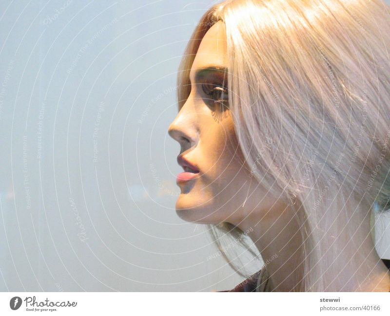 mannequin Woman Shop window Feminine Window Blonde Attract False Unnatural Beautiful Doll Face huge Placed