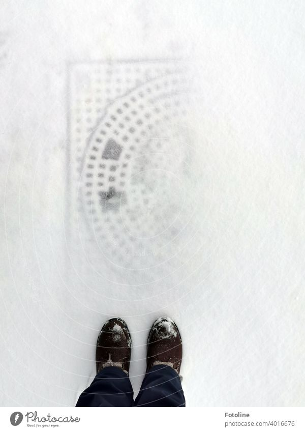 Fotoline braked when she saw the snow-covered manhole cover at her feet. The pattern still stood out. She thought that was great. Snow Winter Cold chill Frost