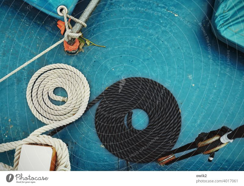 OO Navigation Rope Black White Break Motionless Under Yacht Elegant Design Colour photo Exterior shot Detail Rest position Pattern Structures and shapes