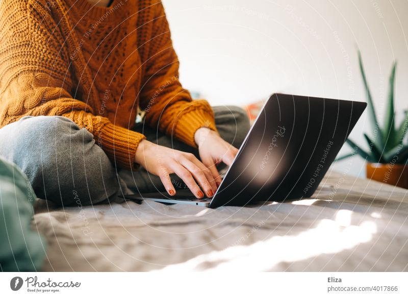 Young woman sits on the bed at home and types something on the notebook Notebook laptop Woman Online Surfing labour home office Home Office Typing Computer