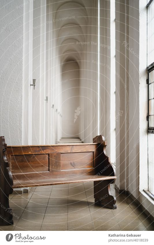 Pew in the church aisle Church Bench Escape Gallery Church pew Religion and faith House of worship Deserted