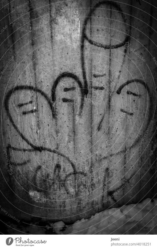 "Lovable gesture of the middle finger as graffiti in black and white on a wall | ""FUCK"" as writing below Graffiti Middle finger Give the finger fuck fuck you"