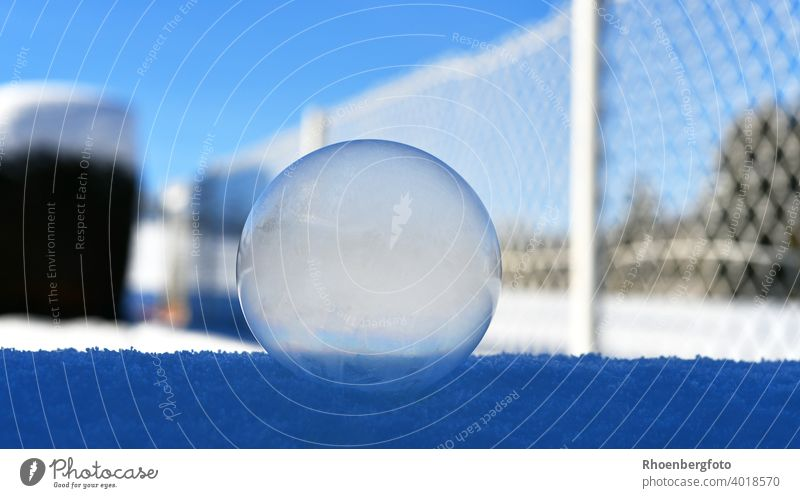 frozen soap bubble on snow covered wall with white wire mesh fence in background Soap bubble Sphere Round Garden Winter Snow Frozen Frost Ice Blue Sky Weather