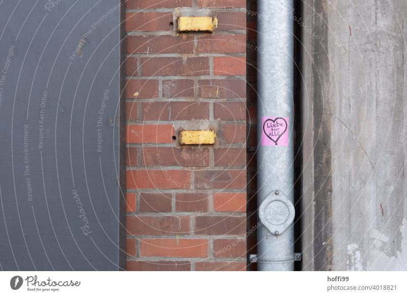 Love for All - Sticker with heart on drainpipe Spring fever Heart Heart-shaped stickers embassy love for all Romance Valentine's Day Infatuation Emotions Red