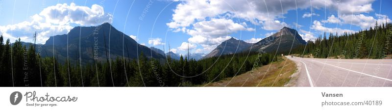 Infinite widths Panorama (View) Forest Clouds Mountain Highway Sun Large Panorama (Format)