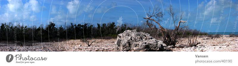 Sun Loneliness Large Island Desert Thin Panorama (Format)