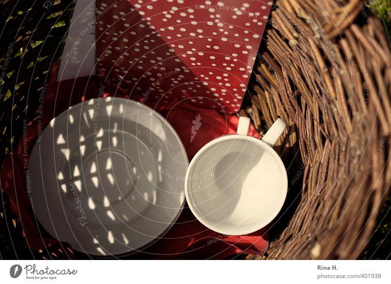 picnic Crockery Plate Cup Lifestyle Trip Beautiful weather Authentic Joy Joie de vivre (Vitality) Relaxation Wicker basket Napkin Colour photo Exterior shot