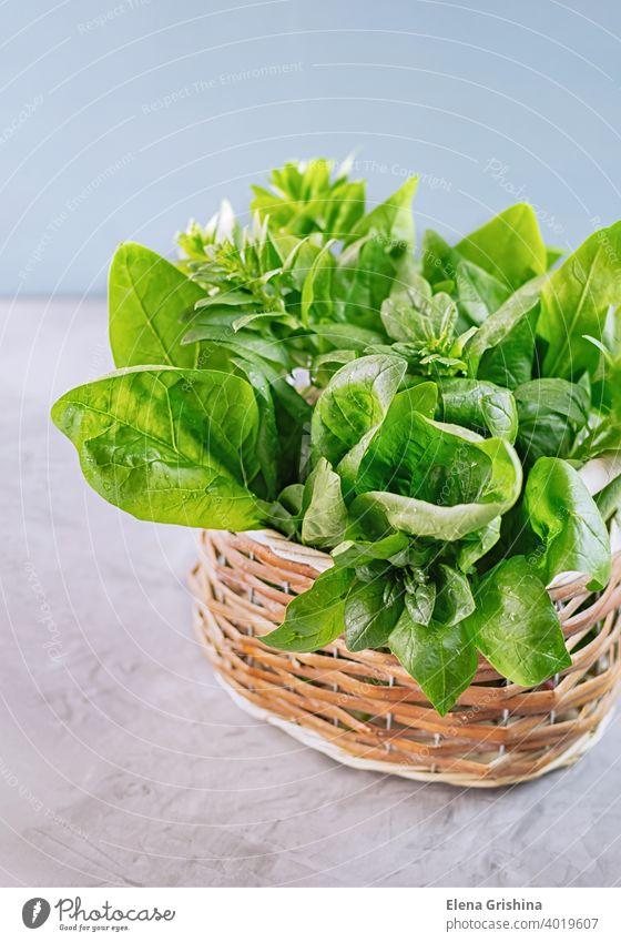 Freshly green spinach leaves placed in a wicker basket. Healthy vegan food concept. Close-up. vertical fresh organic harvest leaf vegetarian ingredient