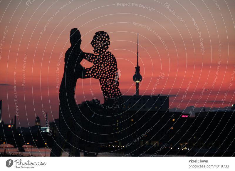 Sculpture Molecule man in Berlin Tourism Capital city Downtown Berlin Landmark Germany Treptow, Exterior shot Sculpture, Night, Molecule man, Monument