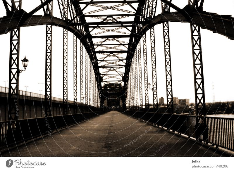 Old Elbe Bridge Harburg Hamburg Germany Manmade structures Architecture Black Süderelbe Wilhelmsburg Elbbrücke Black & white photo