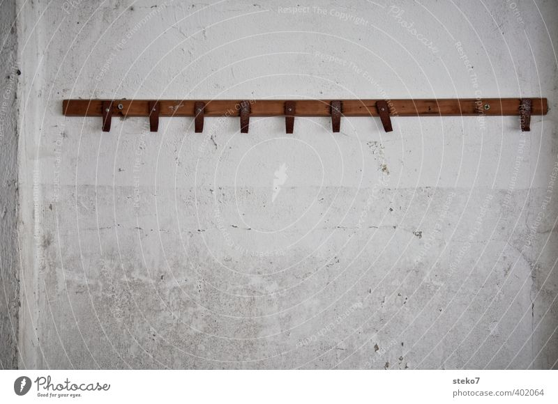 from hook Wall (barrier) Wall (building) Old Brown Gray White Decline Gap Clothes peg Checkmark Lack Subdued colour Interior shot Abstract Deserted