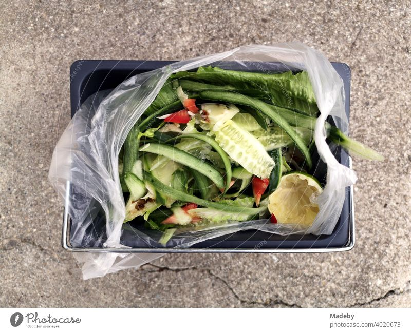 Vegetable waste as organic waste in a plastic bag in a rectangular bucket on stone floor on a farm near Rottenbuch in the district of Weilheim-Schongau in Upper Bavaria