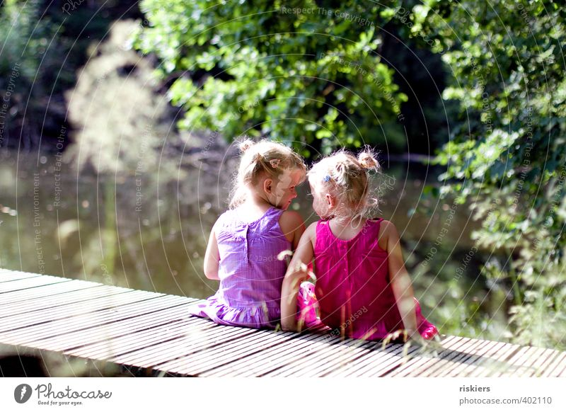 Human being Child Green Summer Relaxation Landscape Girl Forest Environment Happy Lake Natural Together Pink Park Infancy