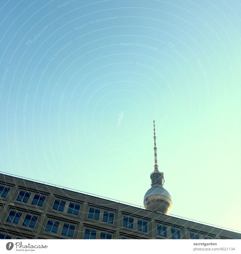 Greetings to Berlin! Berlin TV Tower Sightseeing Tourism Tourist Capital city Tourist Attraction Architecture Point of view Worm's-eye view Minimalistic