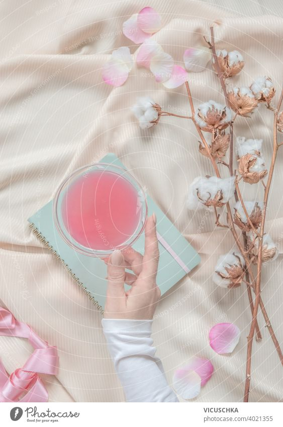 Beauty aesthetic lifestyle with women hand holding cocktail glass on beige fabric background with cotton branches and pink petals. Top view beauty top view