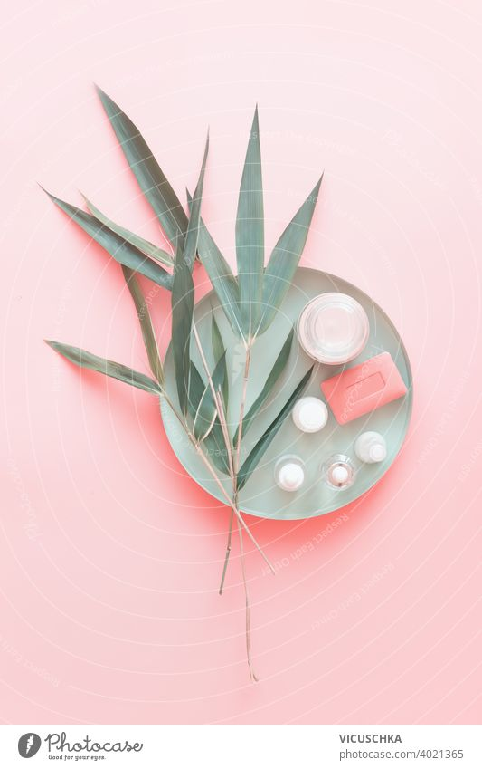 Natural cosmetic  products with bamboo leaves on pastel pink background. Beauty and skin care beautiful beauty color design green leaf lifestyle light