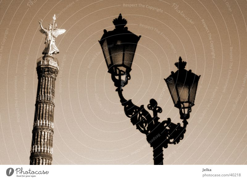 Berlin Lamp Germany Contentment Europe Gold Angel Lantern Column Capital city Victory column