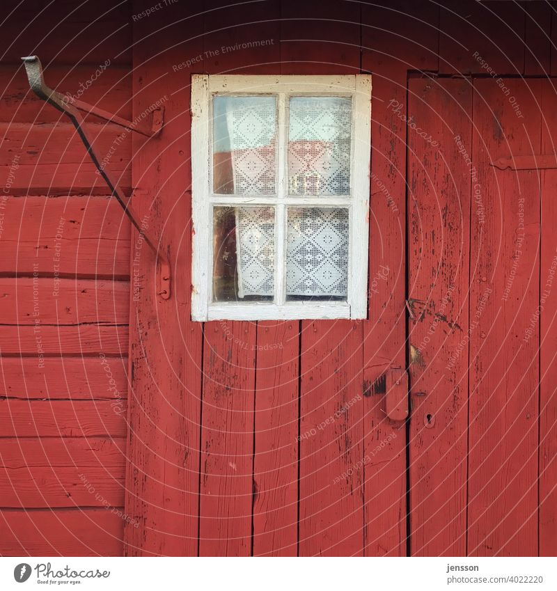 Window on a red swedish house Red Wooden house Wooden facade Swedish red Scandinavia Scandinavian Swede House (Residential Structure) Facade Curtain