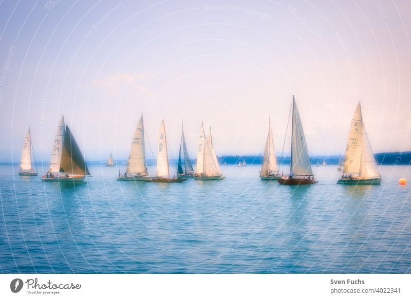 Sailing boats on Lake Constance in a romantic atmosphere (soft focus) sailboats sailing Sports Aquatics Water Body of water Germany Baden-Wuerttemberg Ocean