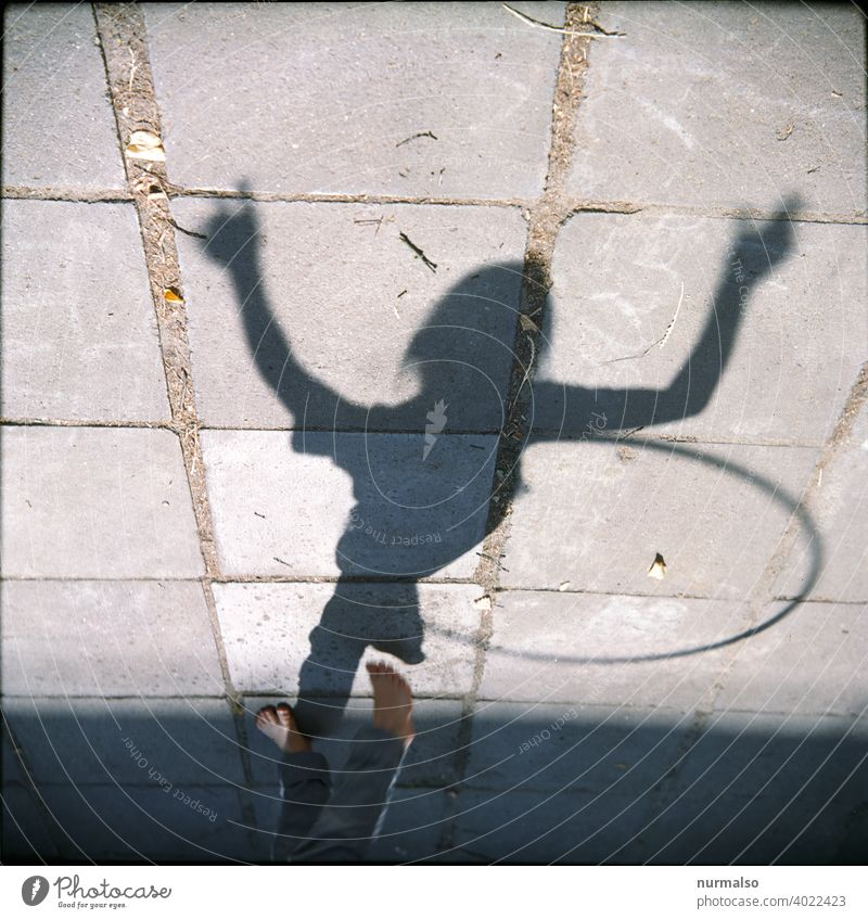 Shadow Fun Sports Child Playing Movement Hulahupp reef Hip Circle Joy free time Homesport Healthy Fitnis square wire Concrete stones Pattern Infancy Freedom