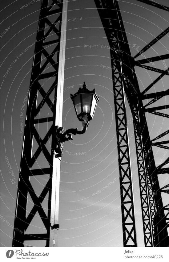 Old Elbe Bridge Lamp Harburg Germany Europe Elegant Süderelbe Wilhelmsburg Lantern Bridge pier Bridge railing bridge scaffolding Black & white photo