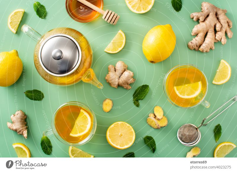 Ginger tea with lemon and honey aroma asian beverage citrus cup delicious drink flavor fresh fruit ginger glass green healthy hot ingredient organic pattern