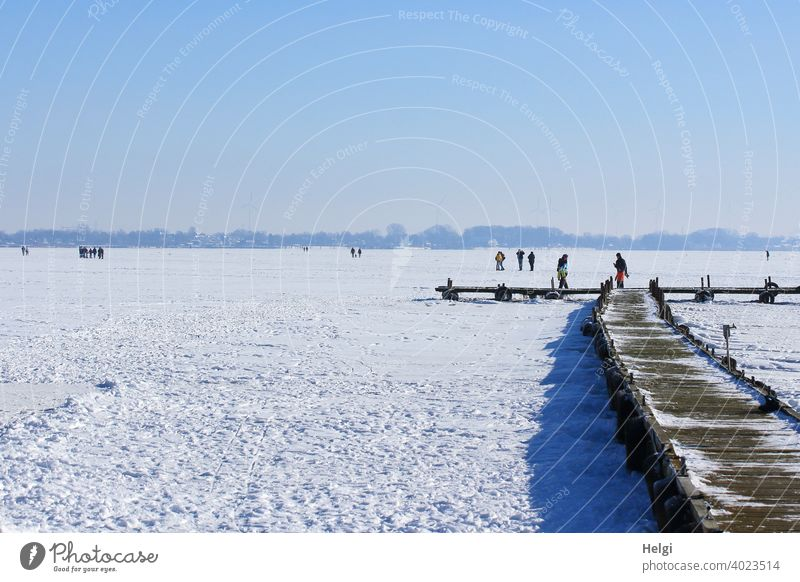 frozen lake with snow, wooden jetty and people standing and walking on the ice Winter Ice Snow chill Freeze Lake Dümmer See Footbridge wooden walkway wide Light