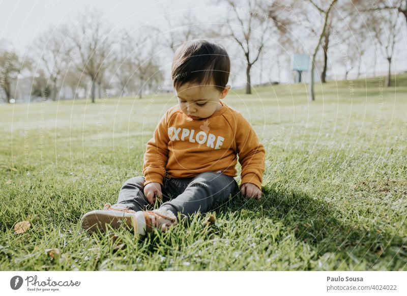 Child playing in the park Sit sitting Park Grass childhood 1 - 3 years Caucasian Colour photo Exterior shot Day Lifestyle Human being Infancy Happiness Toddler
