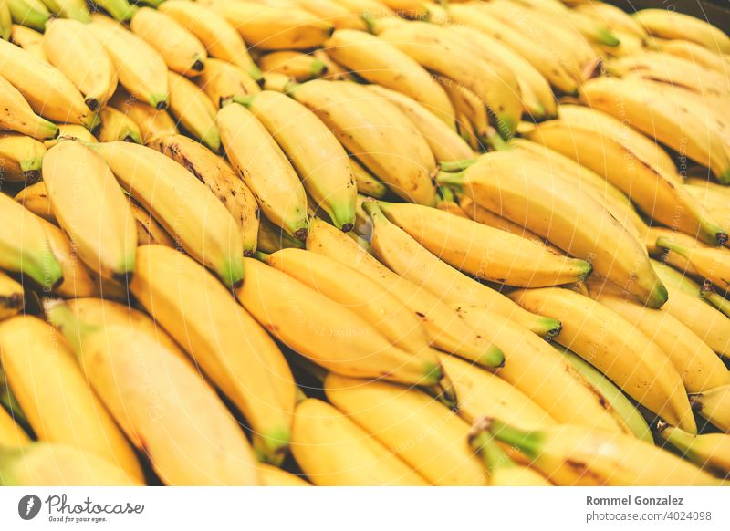 Banana in Grocery Store. Concept of healthy food, bio, vegetarian, diet. Selective focus. lifestyle eat veggies appetizing whole bananasfruit tropical summer