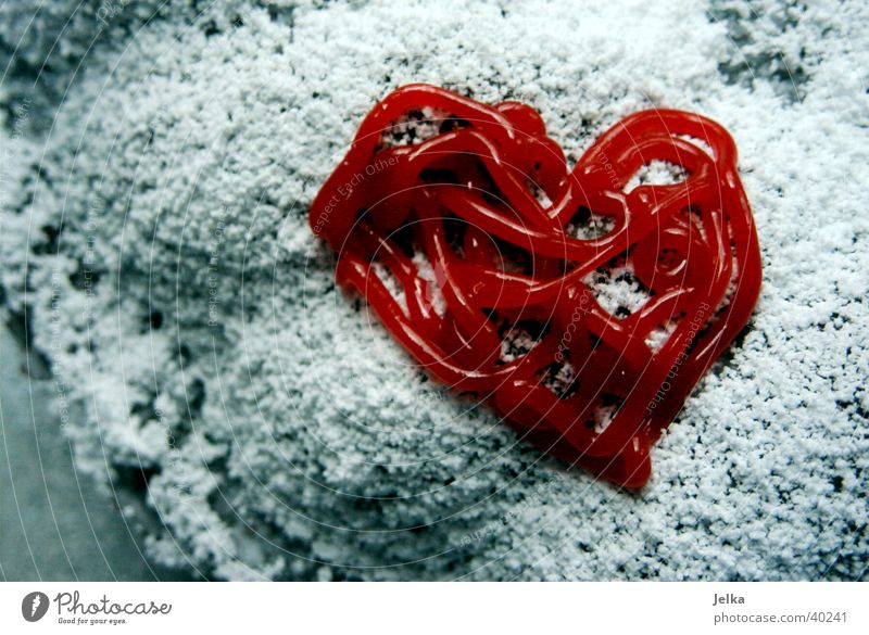 Red Love Heart Sugar Heart-shaped Icing Confectioner`s sugar
