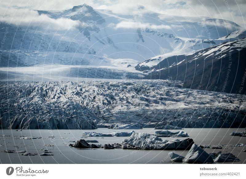 Ice, Clouds & Water Nature Landscape Elements Frost Rock Mountain Snowcapped peak Glacier Lakeside Blue Black White Impressive epic Colour photo Exterior shot