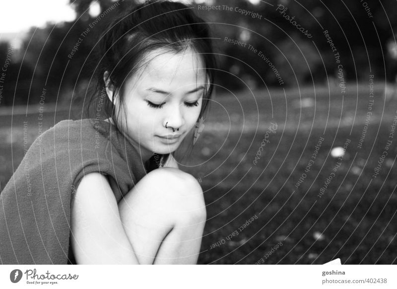 parkmelancholy Feminine Young woman Youth (Young adults) Woman Adults Break Planning Sadness boredom Dream indulge Think Remember Asians Black & white photo