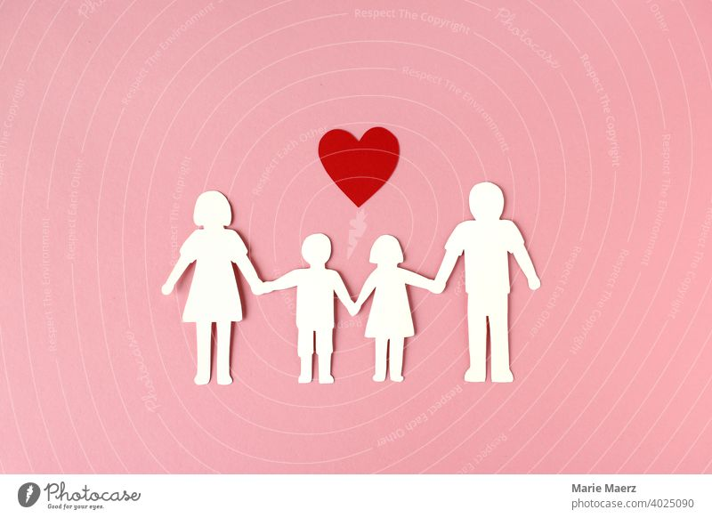 Family happiness | paper chain of a family with heart symbol Domestic happiness children Parents paper cut togetherness Happy Illustration Paper Infancy Mother