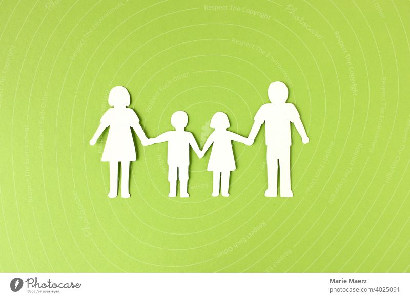 Family | Mother, father and children silhouette made of paper Domestic happiness Father 2 children paper chain Parents Infancy Paper Illustration paper cut