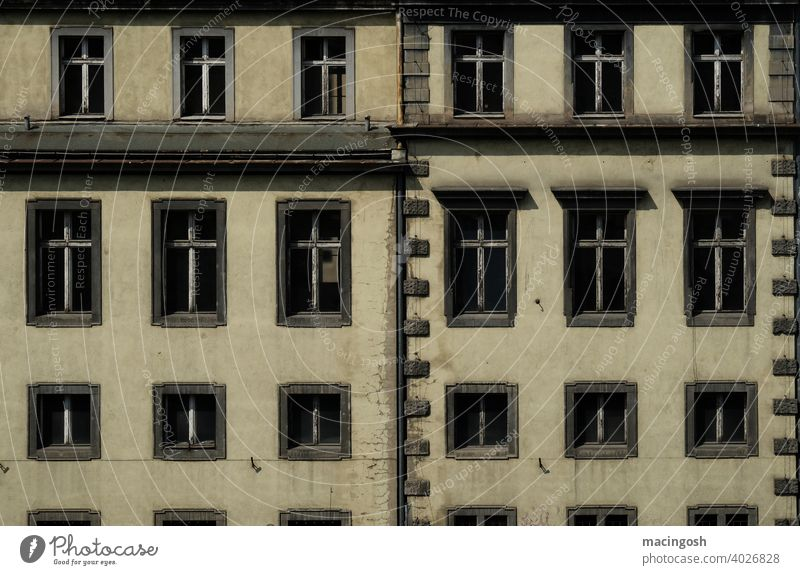 Facade in Wroclaw Poland Window nobody Deserted Pattern structure Building Old urban Architecture Contrast Regular Window transom and mullion Crosses