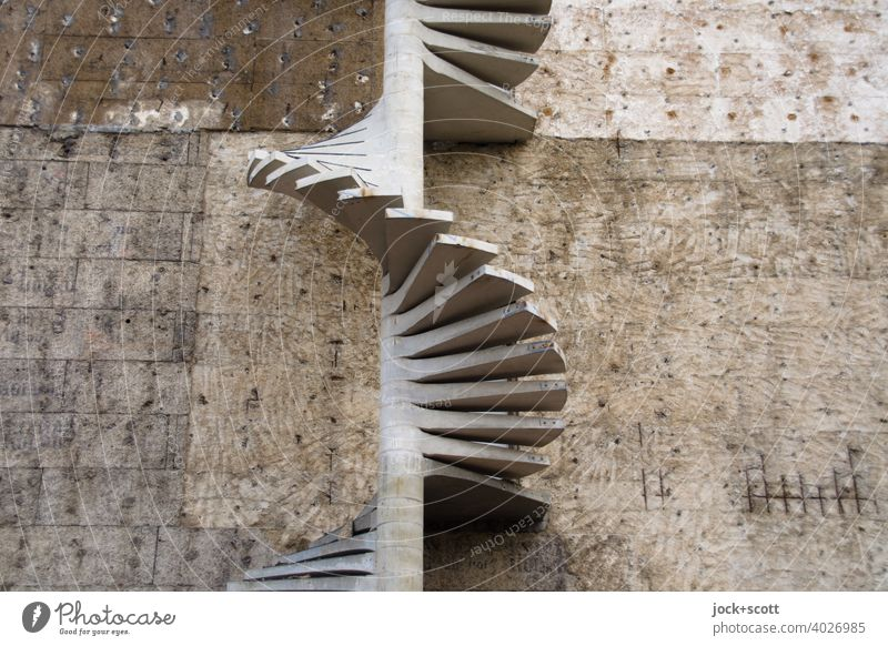 Spiral staircase under construction Construction site Building Architecture Winding staircase Fire wall Authentic Pecking order Escape route