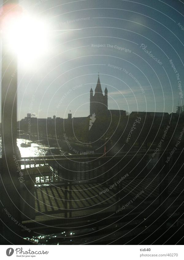Cologne from the train1 Drawbridge Winter Town Europe Rhine sunny day