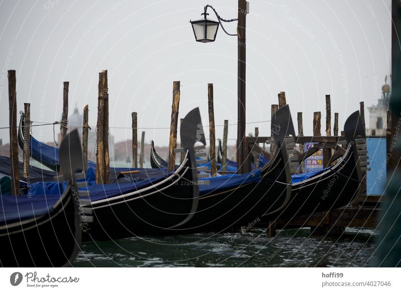 View in the rain on a mooring place of gondolas in Venice Lagoon Rain Gondolier Water Watercraft Italy Boating trip Tourism Port City Navigation Channel
