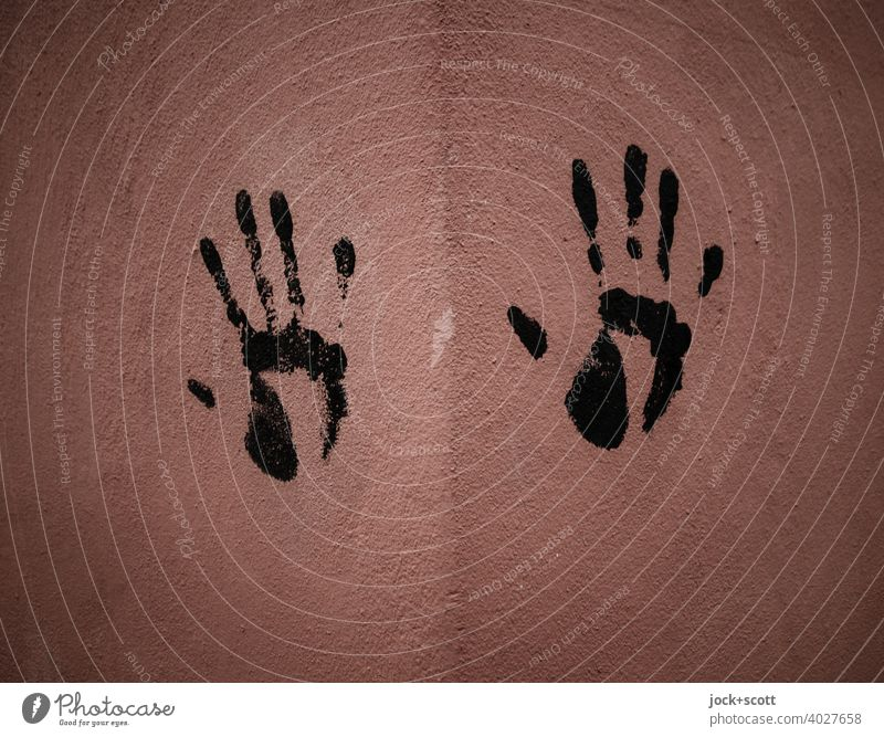 right hand print on the wall Background picture Silhouette Side by side Simple handprint Hand Creativity Corner Plaster wall Detail Touch Street art Brown