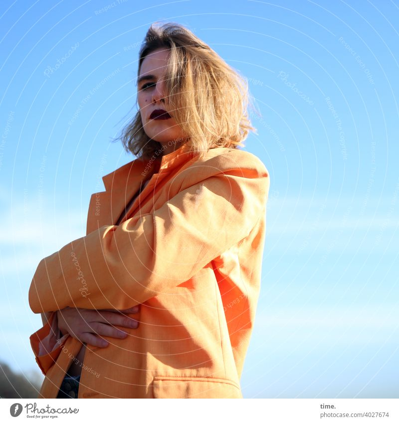 Lara Woman Jacket Sky Hand Protection sunny Clouds Stand cross arms Shadow hairstyle Skeptical Observe shy Annoying annoyed