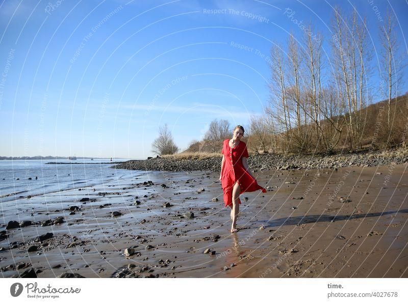 Lara Beach Woman Dress Low tide Red trees birches Horizon Sky sunny Going Walking stones Sand Slick