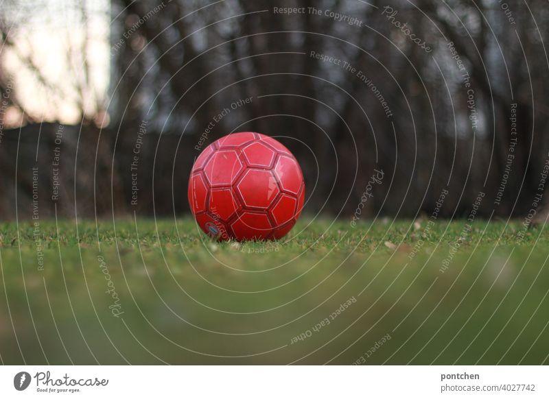 a red football lies on a green meadow. recreational sport Foot ball Red Lie Sports Ball Meadow Team Sports Children's game Leisure and hobbies Ball sports