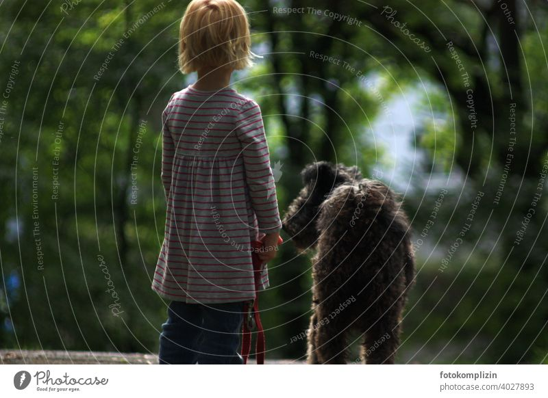 Back view of child and dog Child Dog back view go out Wait look Toddler Infancy Parenting children Childlike youthful Cute Small be a child preschool child
