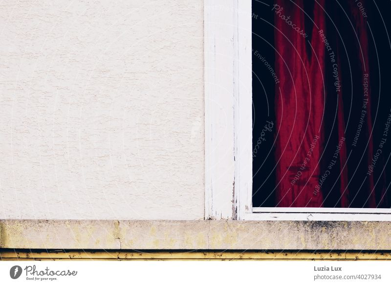 A dark red curtain in an old window, partial view of the facade Drape Red Blood Red Old Window Window frame Facade Gloomy Curtain Day