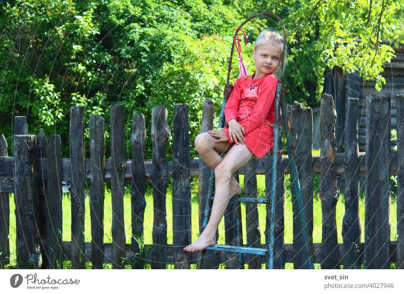 Barefoot Summer in the Village. Portrait of a little girl with blond hair in a red dress sitting on a stepladder in the countryside against the background of an old wooden fence and green foliage on a sunny summer day.
