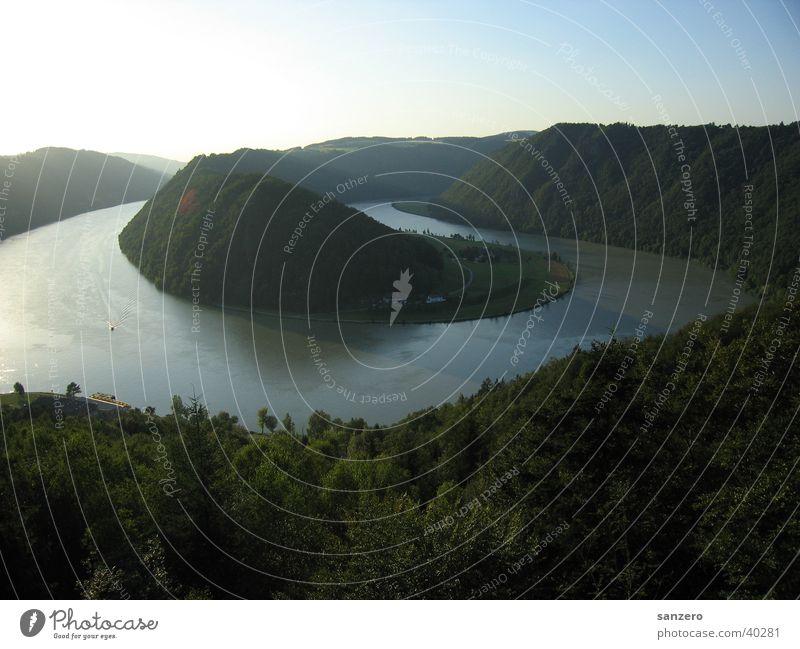 Schlögener Loop Austria Panorama (View) Vantage point Danube slogans Nature Water Large