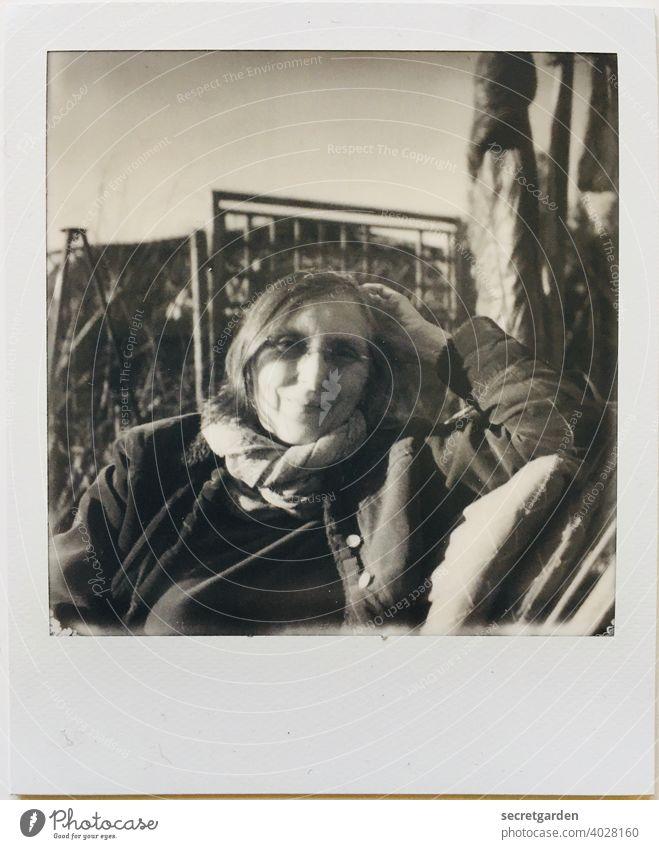 My bon vivant friend Susanne girlfriend Smiling Black & white photo relaxed relaxing sunny To enjoy Eyeglasses Cold Polaroid Analog portrait Face arm Sit Chair