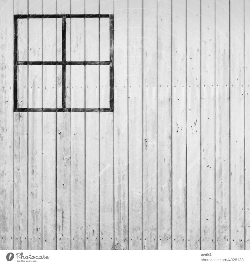 dummy Wall (building) Wood boards Simple Colour White Window transom and mullion Painted strokes Crucifix Corner Detail Deserted Abstract Building Pattern